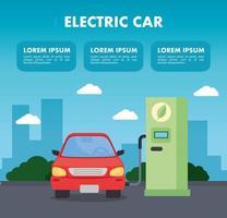 plantilla de banner de coche eléctrico vector