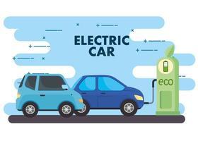 coches eléctricos en el banner de la estación de carga. vector