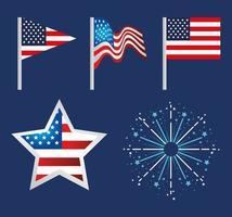Happy labor day holiday celebration icon set vector