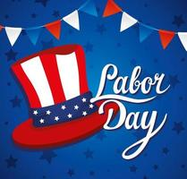 Happy labor day holiday celebration banner with USA top hat vector