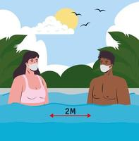 Interracial couple in swimsuits, social distancing and wearing face masks at the beach vector
