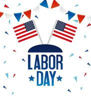 Happy labor day holiday celebration banner with USA flags vector
