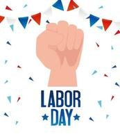 Happy labor day holiday celebration banner with a hand vector