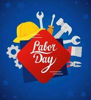 Happy labor day holiday celebration banner with tools and helmet