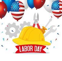 Banner de celebración navideña del día del trabajo feliz con herramientas y casco vector