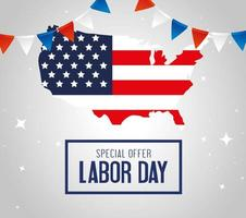 Labor day sale promotion advertising banner with USA map vector