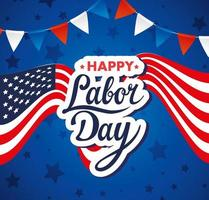 Happy labor day holiday celebration banner with USA flag vector