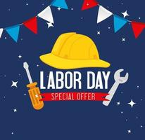 Happy labor day holiday celebration banner with tools and helmet vector