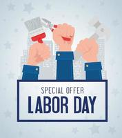 Labor day sale promotion advertising banner with hands holding tools