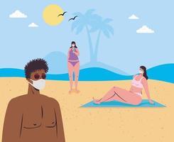 personas en traje de baño, distanciamiento social y con máscaras en la playa vector