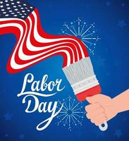 Happy labor day holiday celebration banner with USA flag and paint brush vector