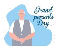 banner de celebración del día de los abuelos feliz con un lindo abuelo vector