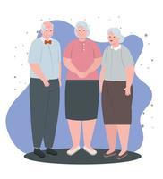 grupo de ancianos lindos, abuelos sonriendo vector