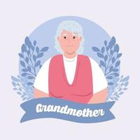 happy grand parents day with cute grandmother and leaves decoration vector