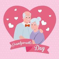 banner de celebración del día de los abuelos feliz con una linda pareja de ancianos vector