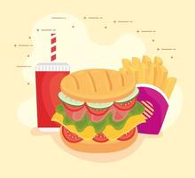 Hamburger with french fries and beverage, fast food combo vector