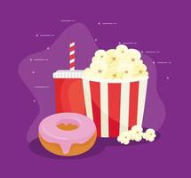 Sweet donut with popcorn and beverage, fast food combo vector