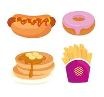 set of fast food, lunch or meal vector