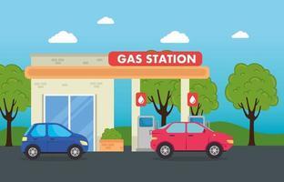autos en una gasolinera vector