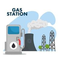 gas station and refinery chimney scene vector