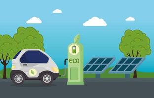 Coche eléctrico en una estación de carga con paneles solares. vector