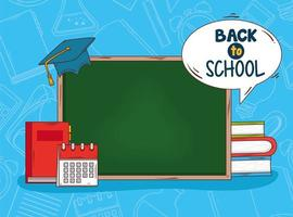Back to school banner with chalkboard and education supplies vector
