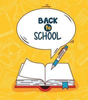 back to school banner with open book vector