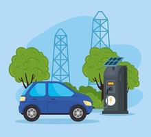 electric car in a charging station with solar panels vector