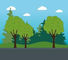 nature landscape with trees, bushes, and road street vector