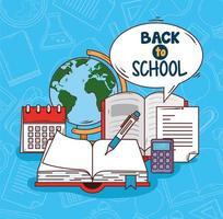 banner de regreso a la escuela con útiles educativos vector