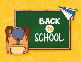 back to school banner with chalkboard and school bag vector