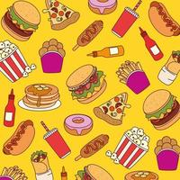 Fast food pattern background vector