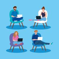 Set of people working with laptops on chairs vector