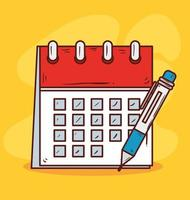 calendar reminder with pencil on yellow background vector