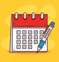 recordatorio de calendario con lápiz sobre fondo amarillo vector