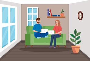 Couple working with laptops in the living room vector