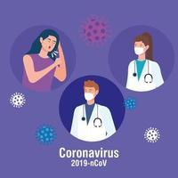 Sick woman and doctors during coronavirus pandemic vector