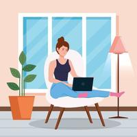 Woman working with a laptop on a chair vector