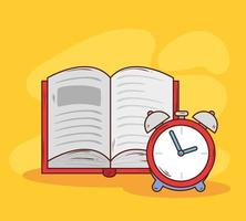 despertador con libro abierto vector