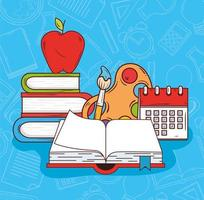 Open book with education icons vector