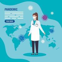 médico para la plantilla de banner de pandemia de coronavirus vector