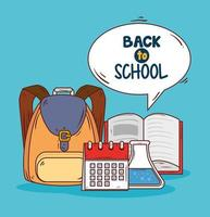 back to school banner with education supplies vector