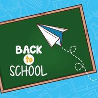 back to school banner with chalkboard and paper plane vector