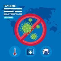 Coronavirus pandemic banner template vector
