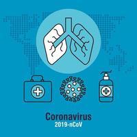 pandemia de coronavirus con pulmones e iconos vector