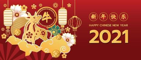 The OX paper cut Banner Happy Chinese new year 2021 vector