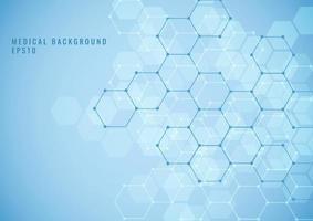 Estructura hexagonal geométrica abstracta patrón de red de ciencia médica sobre fondo azul.