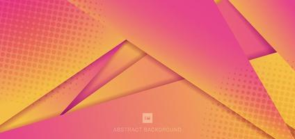 Abstract modern futuristic pink and yellow gradient, color geometric background with halftone. vector