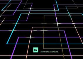 Abstract vibrant color geometric lines overlap with light perspective on black background retro style. vector