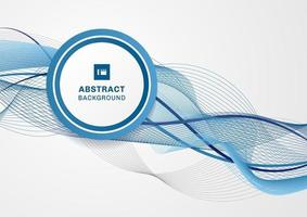 Abstract blue wave line with circle label on white background and space for your text vector